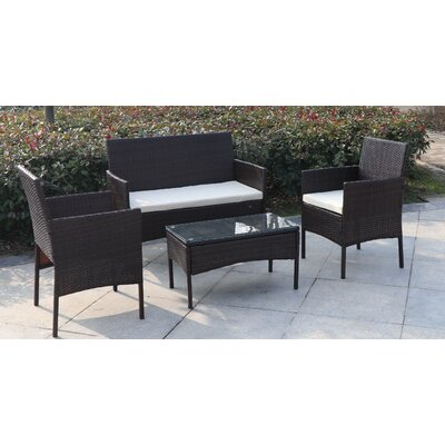 Madison 4 Piece Wicker Seating Group with Cushion Fabric: Ivory