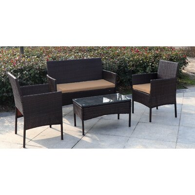 Madison 4 Piece Wicker Seating Group with Cushion Fabric: Brown