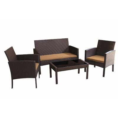 Sophia 4 Piece Deep Seating Group with Cushions Fabric: Brown