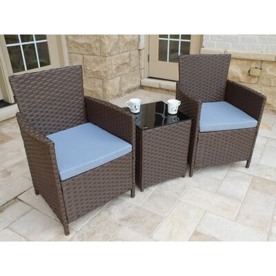 Rockleigh 3 Piece Rattan Conversation Set with Cushions Frame Finish: Brown