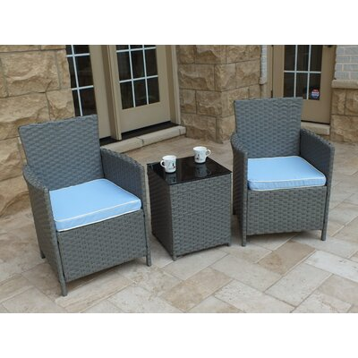 Rockleigh 3 Piece Rattan Conversation Set with Cushions Frame Finish: Gray