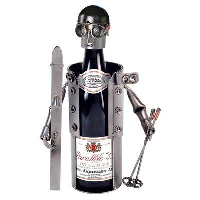 Skier 1 Bottle Tabletop Wine Rack