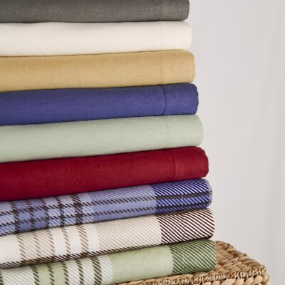 Winter Nights Flannel 100% Cotton Sheet Set Color: Tan Plaid, Size: Queen