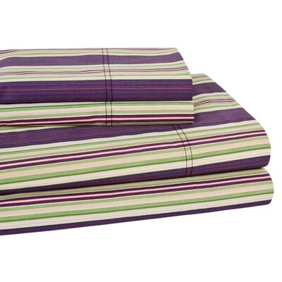 Lindsey Stripe 300 Thread Count 100% Cotton Sheet Set Color: Burgundy, Size: CA King