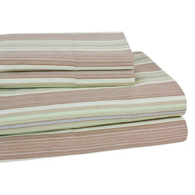 Lindsey Stripe 300 Thread Count 100% Cotton Sheet Set Color: Green, Size: Twin