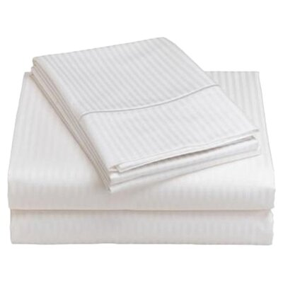600 Thread Count Woven Damask Stripe Sheet Set Color: White, Size: King