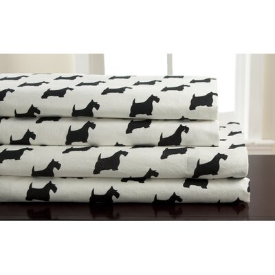 Winter Nights Scotty Dog Flannel 100% Cotton Sheet Set Size: Full