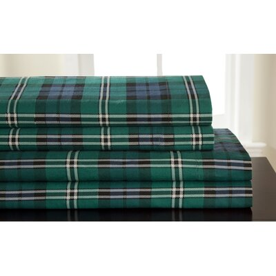 Winter Nights 100% Cotton Flannel Jackson Plaid Sheet Set Size: Queen
