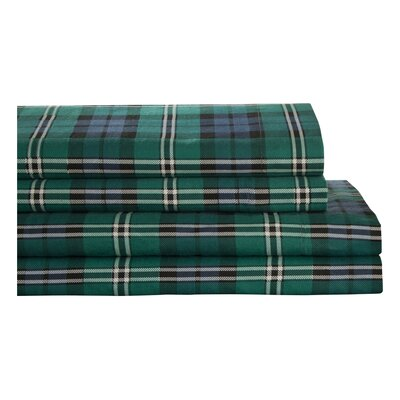 Winter Nights Flannel Jackson Plaid 100% Cotton Sheet Set Size: King