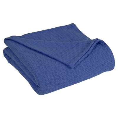 Grand Hotel All Natural Basket Woven 100% Cotton Blanket Size: Full/Queen, Color: Navy