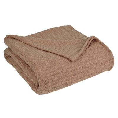 Grand Hotel All Natural Basket Woven 100% Cotton Blanket Size: Twin, Color: Taupe