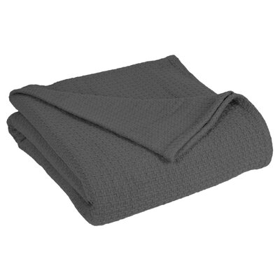 Grand Hotel All Natural Basket Woven 100% Cotton Blanket Size: King, Color: Dark Grey