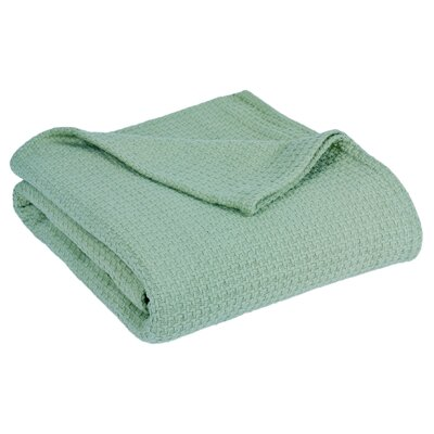 Grand Hotel All Natural Basket Woven 100% Cotton Blanket Size: Full/Queen, Color: Aqua