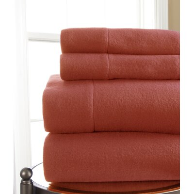 Microfleece Sheet Set Size: Full, Color: Coral