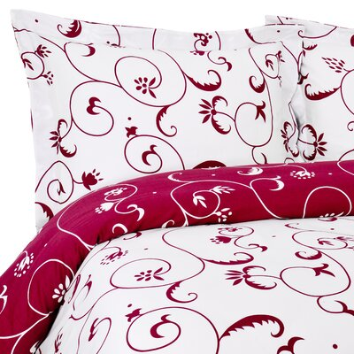 Bella Duvet Set Size: King, Color: Crimson