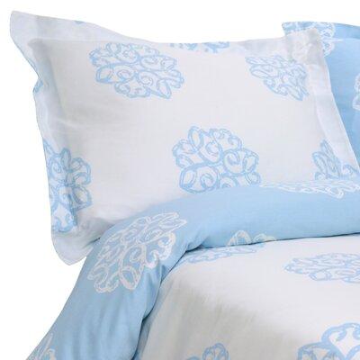 Milena Reversible Duvet Cover Set Color: Light Blue / Ivory, Size: King