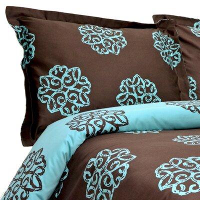 Milena Reversible Duvet Cover Set Color: Teal / Chocolate, Size: King