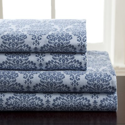 Winter Nights 100% Cotton Flannel Sheet Set Color: Blue, Size: Queen