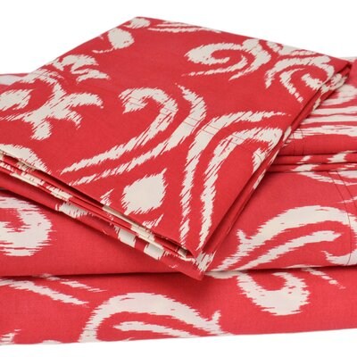 Sicily 300 Thread Count Cotton Sheet Set Size: Twin, Color: Red