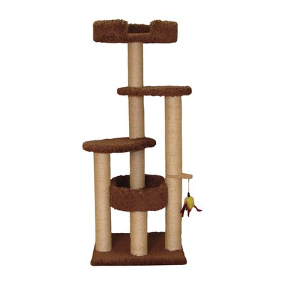 55 Three Post Cat Tree Color: Natural Beige