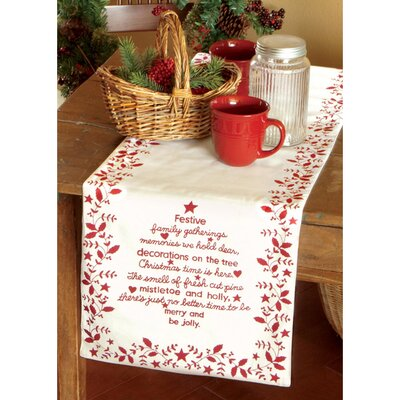 "Christmas Time Table Runner Size: 60"" W x 13"" D"