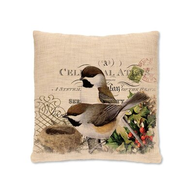 Winter Garden Chickadees Throw Pillow