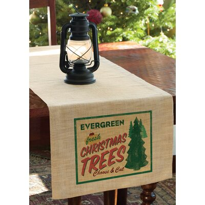 "Signs of Christmas Evergreen Table Runner Size: 60"" W x 16"" D"