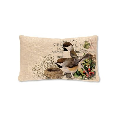 Winter Garden Chickadees  Lumbar Pillow