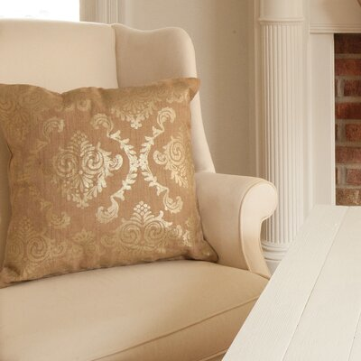 Burlap Damask Pillow Cover Color: Gold