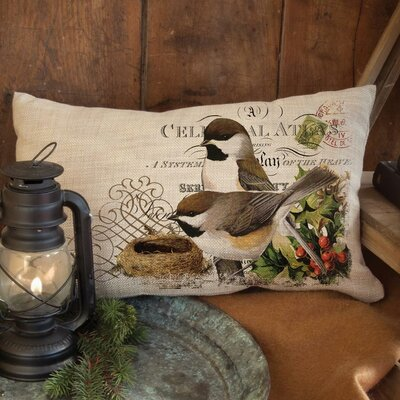 Winter Garden Chickadees Pillow Cover Size: 12 H x 20 W