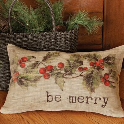 Holly be Merry Pillow Cover Size: 18 H x 18 W