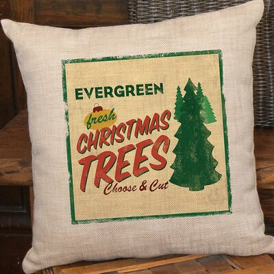 Signs of Christmas Evergreen Polyester Pillow Cover