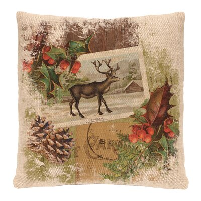 Woodland Christmas Reindeer Throw Pillow