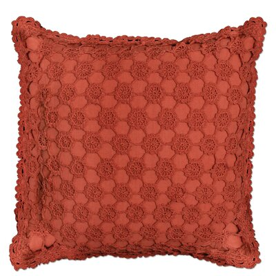 Atonvale Crochet 100% Cotton Throw Pillow Color: Ginger Spice