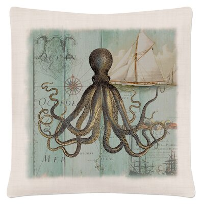 Ionie Coastal Collage Octopus Pillow Cover