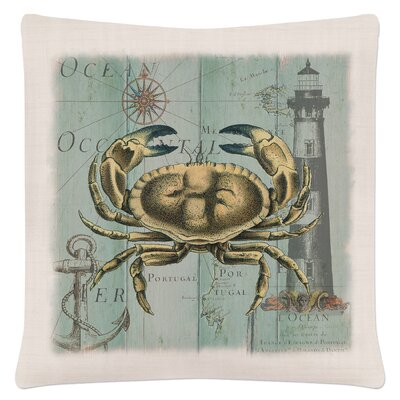 Ionie Coastal Collage Crab Pillow Cover
