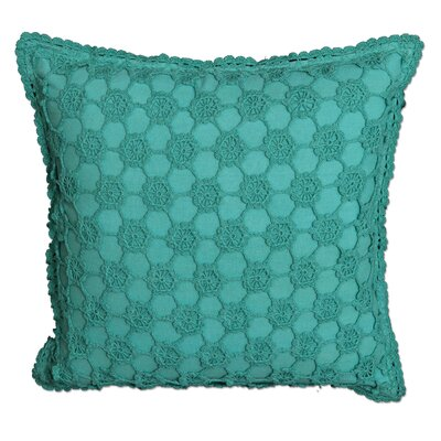 Atonvale Crochet 100% Cotton Throw Pillow Color: Teal