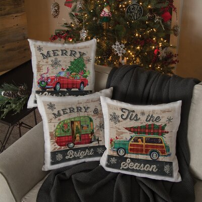 Christmas Plaid Square Pillow Cover