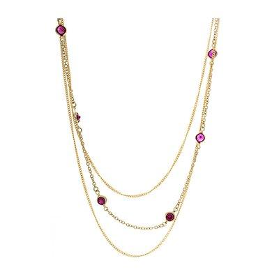 Rafia Jewelry 14k Gold 3 Strand Gemstone Necklace