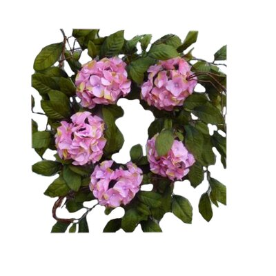Hydrangea 24 Wreath Color: Pink / White