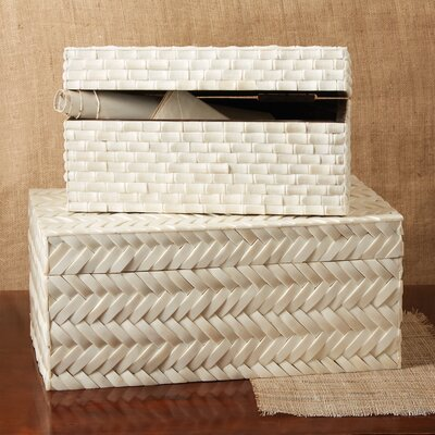 Basketweave 2 Piece Bone Box Set