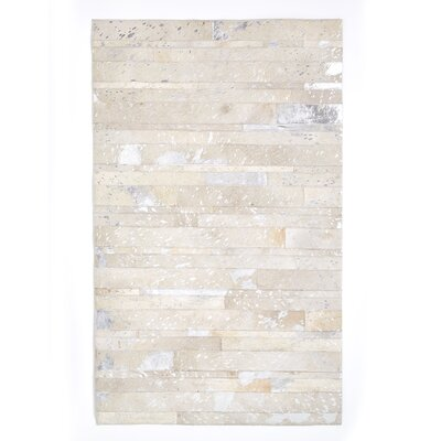 Fidela Natural Cowhide Metallic Silver Area Rug