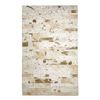 Foster Golden Natural Cowhide Metallic Gold Area Rug