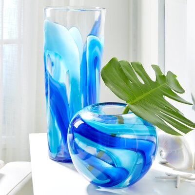 Blue Swirl 2 Piece Table Vase Set DLX103-S2