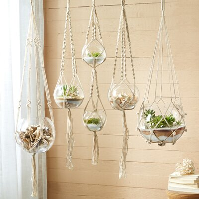 Stephenson 5-Piece Glass Hanging Planter Set
