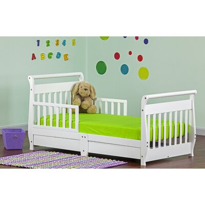 Toddler Sleigh Bed with Storage Color: White