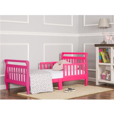 Toddler Sleigh Bed with Safety Rails Finish: Fuchsia Pink