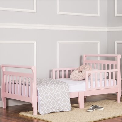 Toddler Sleigh Bed with Safety Rails Finish: Pink