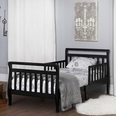 Toddler Sleigh Bed with Safety Rails Finish: Black