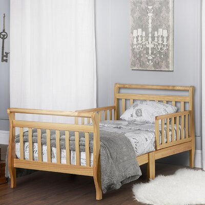 Toddler Sleigh Bed with Safety Rails Finish: Natural